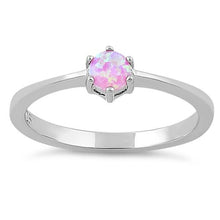 Load image into Gallery viewer, Sterling Silver Round Pink Lab Opal Ring