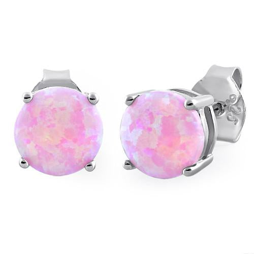 Sterling Silver Round Pink Lab Opal Stud Earrings