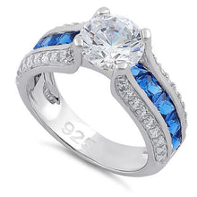 Load image into Gallery viewer, Sterling Silver Round & Princes Cut Clear & Blue Spinel CZ Ring