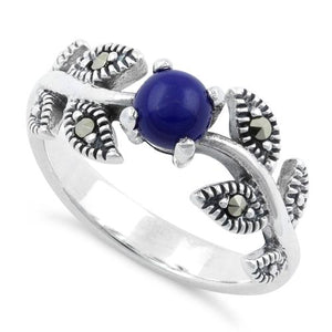 Sterling Silver Round Blue Lapis Leaves Marcasite Ring