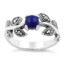 Load image into Gallery viewer, Sterling Silver Round Blue Lapis Leaves Marcasite Ring