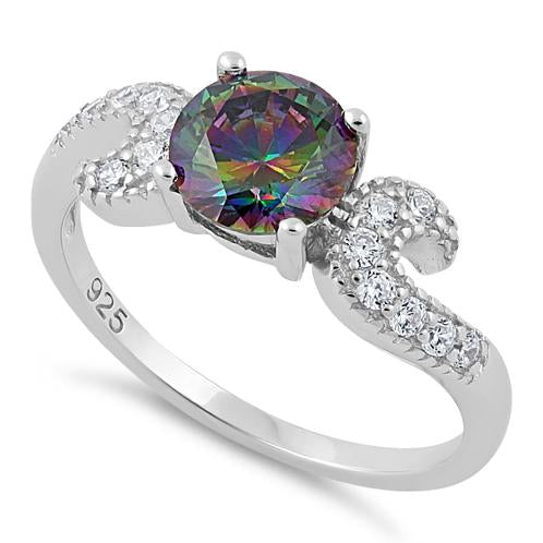 Sterling Silver Round Rainbow Topaz CZ Ring