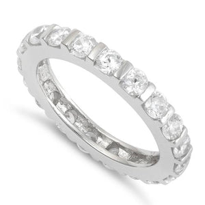 Sterling Silver Round Stackable Eternity CZ Ring