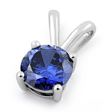 Load image into Gallery viewer, Sterling Silver Round Tanzanite CZ Pendant