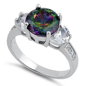 Sterling Silver Round Triple Stone Rainbow Topaz CZ Ring