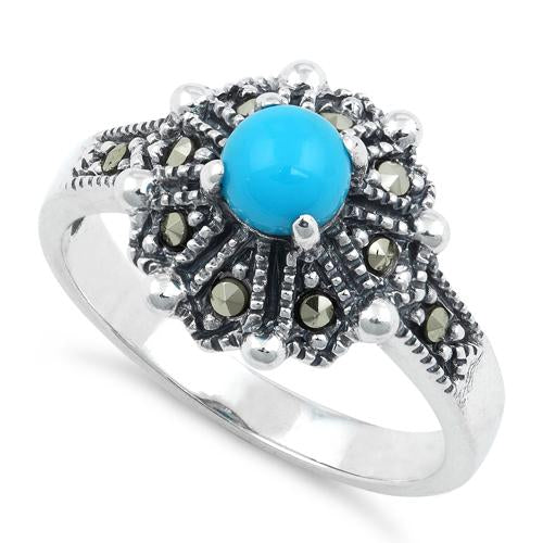 Sterling Silver Round Simulated Turquoise Flower Marcasite Ring