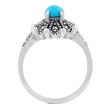 Load image into Gallery viewer, Sterling Silver Round Simulated Turquoise Flower Marcasite Ring