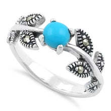 Load image into Gallery viewer, Sterling Silver Round Simulated Turquoise Leaves Marcasite Ring