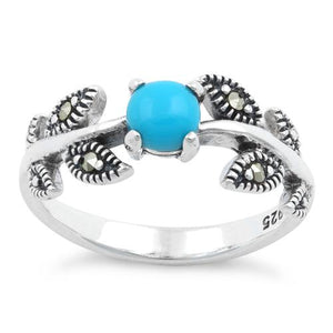 Sterling Silver Round Simulated Turquoise Leaves Marcasite Ring
