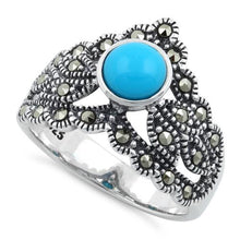 Load image into Gallery viewer, Sterling Silver Round Simulated Turquoise Tiara Marcasite Ring