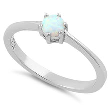 Load image into Gallery viewer, Sterling Silver Round White Lab Opal Ring