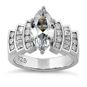 Sterling Silver Royal Marquise Cut Engagement CZ Ring