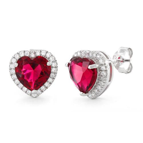 Sterling Silver Ruby Big Heart CZ Earrings