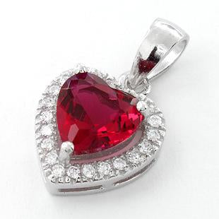 Sterling Silver Ruby Small Heart CZ Pendant