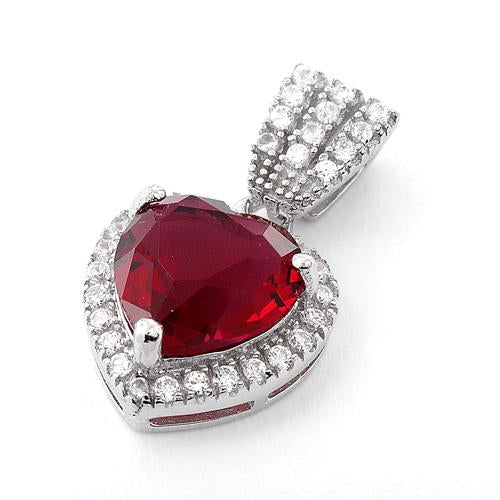Sterling Silver Ruby Big Heart CZ Pendant