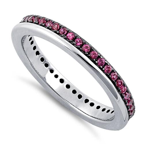 Sterling Silver Ruby CZ Eternity Band