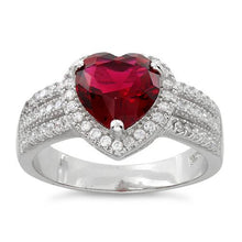 Load image into Gallery viewer, Sterling Silver Ruby Heart CZ Ring