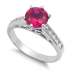 Sterling Silver Ruby Round Cut CZ Ring