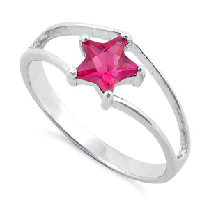 Sterling Silver Ruby Star Cut CZ Ring