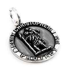 Sterling Silver Saint Christopher Protect Us Pendant