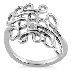 Sterling Silver Scribble Abstract Ring