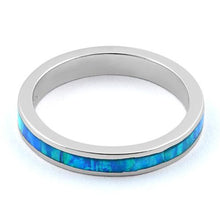 Load image into Gallery viewer, Sterling Silver Seamless Lab Opal Ring