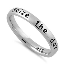 "Load image into Gallery viewer, Sterling Silver ""Seize the day Carpe Diem"" Ring"