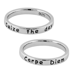 "Sterling Silver ""Seize the day Carpe Diem"" Ring"