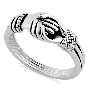 Sterling Silver Shakehands Ring