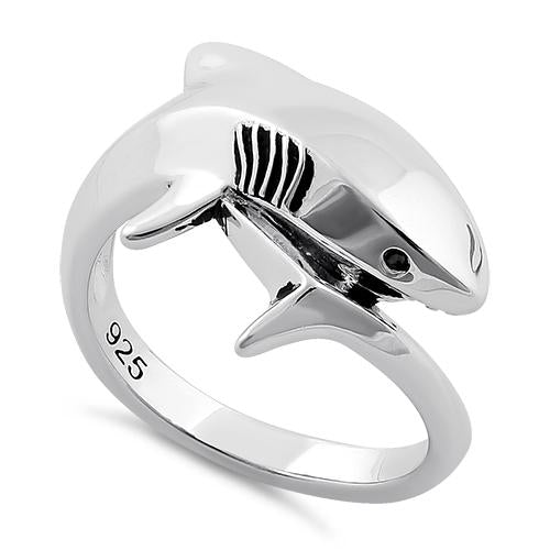 Sterling Silver Shark Black CZ Ring