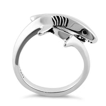 Load image into Gallery viewer, Sterling Silver Shark Black CZ Ring