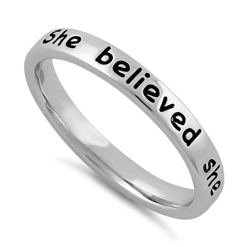 "Sterling Silver ""She believed she could, so she did"" Ring"