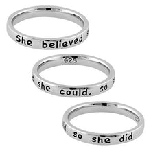 "Load image into Gallery viewer, Sterling Silver ""She believed she could, so she did"" Ring"