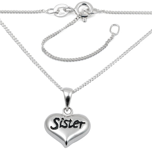 "Sterling Silver ""Sister"" Charm Necklace"