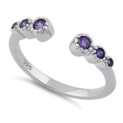Sterling Silver Six Round Cut Amethyst CZ Ring