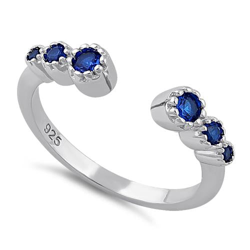 Sterling Silver Six Round Cut Blue Spinel CZ Ring