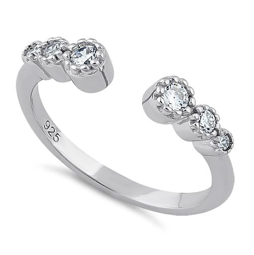 Sterling Silver Six Round Cut Clear CZ Ring