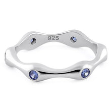 Load image into Gallery viewer, Sterling Silver Six Sided Tanzanite CZ Ring
