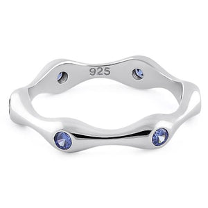 Sterling Silver Six Sided Tanzanite CZ Ring