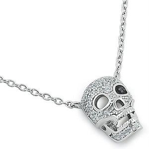 Sterling Silver Skull CZ Necklace