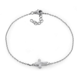 Sterling Silver Small Cross Bracelet