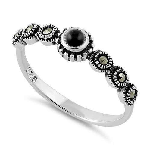 Sterling Silver Small Round Black Onyx Marcasite Ring