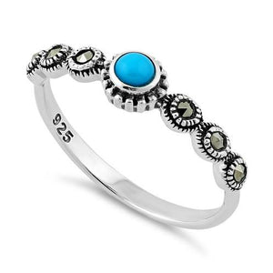 Sterling Silver Small Round Simulated Turquoise Marcasite Ring