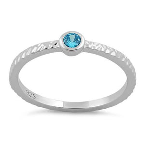 Sterling Silver Small Round Cut Aqua Blue CZ Ring