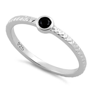 Sterling Silver Small Round Cut Black CZ Ring