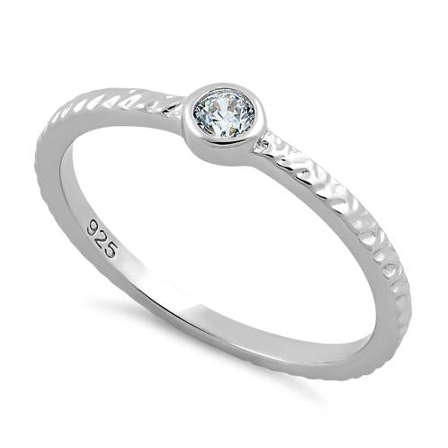 Sterling Silver Small Round Cut Clear CZ Ring