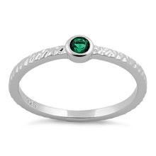 Load image into Gallery viewer, Sterling Silver Small Round Cut Emerald CZ Ring