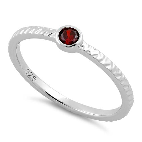 Sterling Silver Small Round Cut Garnet CZ Ring