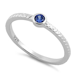 Sterling Silver Small Round Cut Tanzanite CZ Ring
