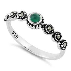Sterling Silver Small Round Emerald Marcasite Ring